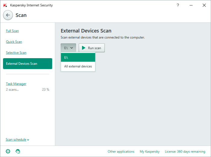 Run a scan of a removable drive or a mobile device