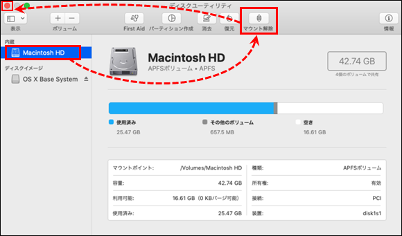 Mounting a volume via Disk Utility in Mac OS (OS X)