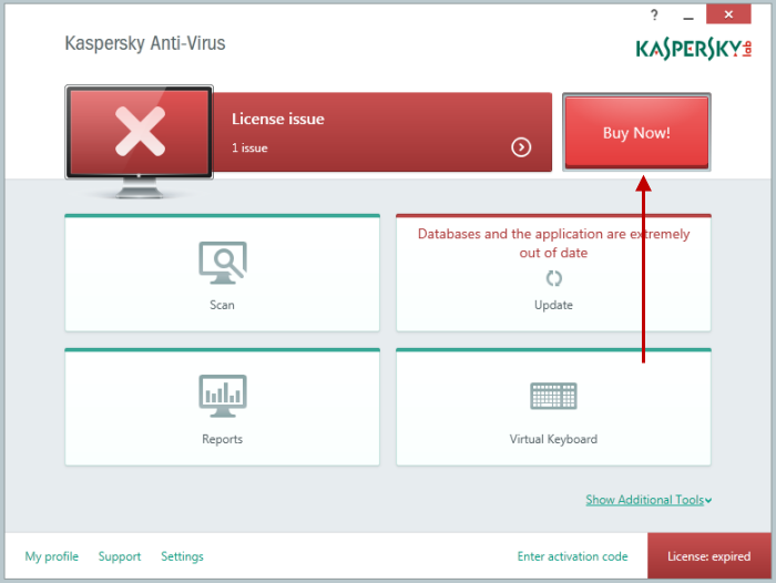 Click Buy Now! in the main window of Kaspersky Anti-Virus 2015 to activate a commercial version