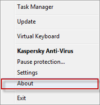 Kaspersky Anti-Virus shortcut menu