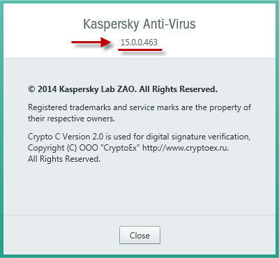 The About window in Kaspersky Anti-Virus 2015