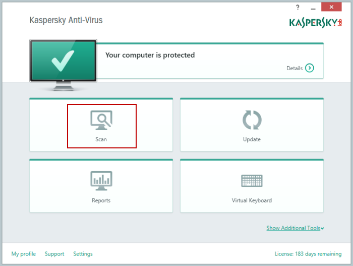 In the main window of Kaspersky Anti-Virus 2015, click Scan