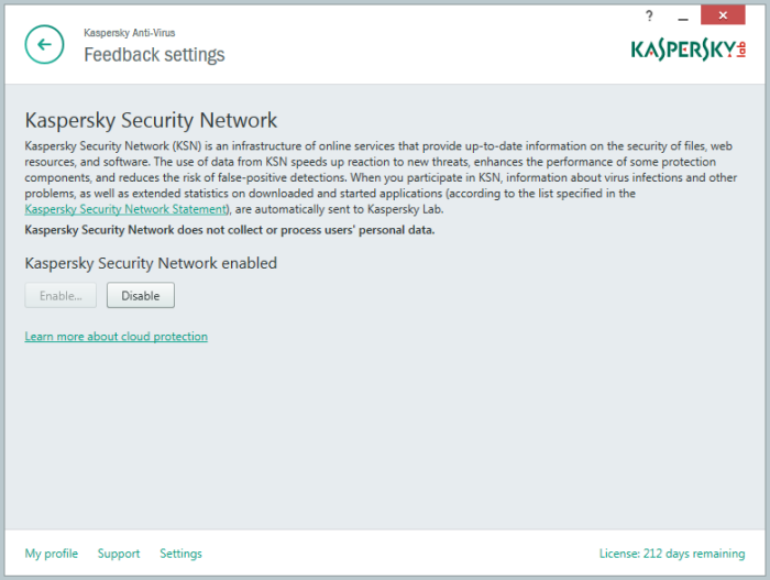 Kaspersky Security Network settings