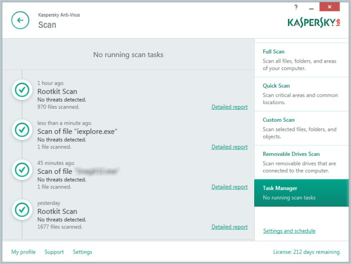 Selected file scan in Kaspersky Anti-Virus 2015