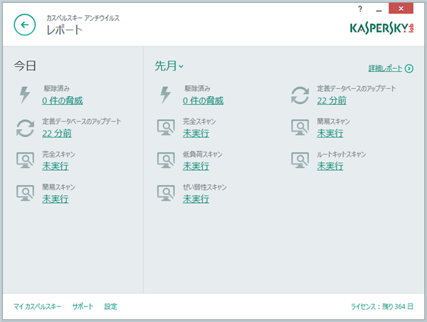Reports screen in Kaspersky Anti-Virus 2015