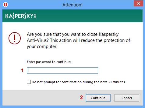 Enter the password to remove Kaspersky Anti-Virus 2015