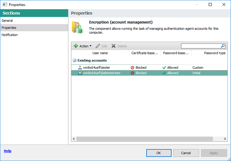 Picture: Data Encryption (account management) window