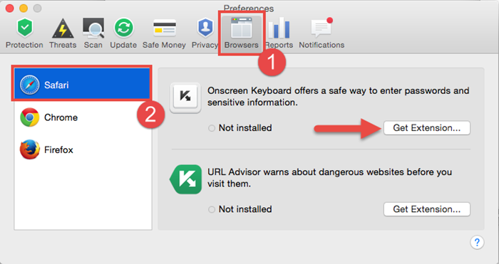 Image: get extensions from Preferences in Kaspersky Fraud Prevention for Mac