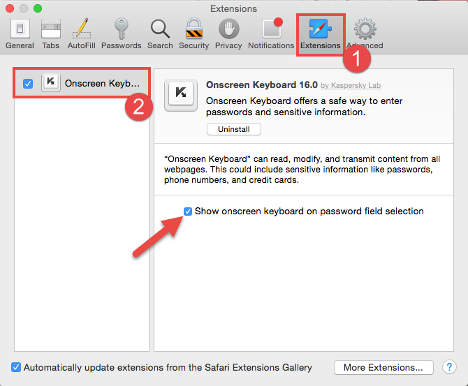Image: how to enable show onscreen keyboard on password field selection automatically in Safari