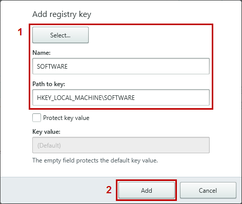 Select the registry key