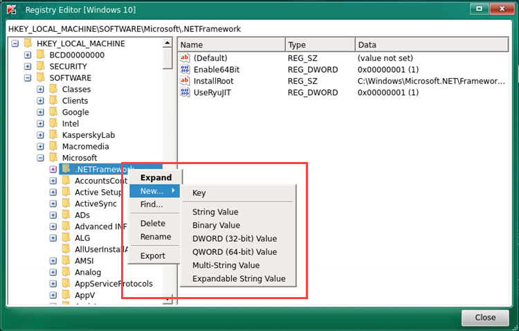 Selecting an action to take on a registry key in Kaspersky Rescue Disk 2018