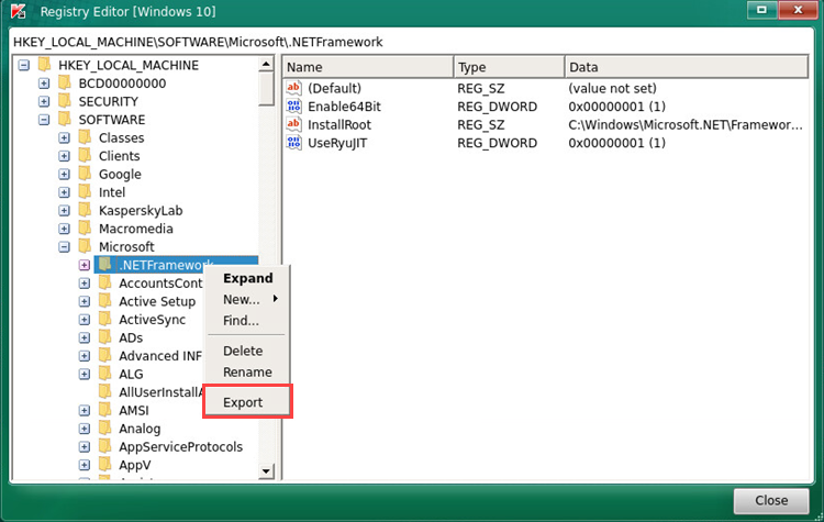 Exporting a key in the Kaspersky Rescue Disk 2018 Registry Editor