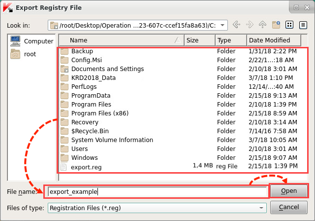 Saving a key in the Kaspersky Rescue Disk 2018 Registry Editor