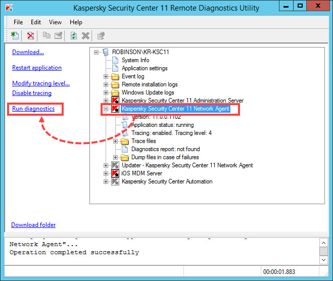 Running Network Agent diagnostics using the klactgui tool