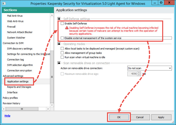 Disabling Self-Defense for Kaspersky Security for Virtualization 5.0 Light Agent
