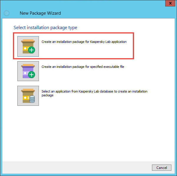 Selecting the installation package type