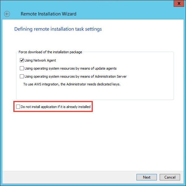 Defining the remote installation settings