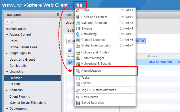 Selecting Administration in the vSphere Web Client menu