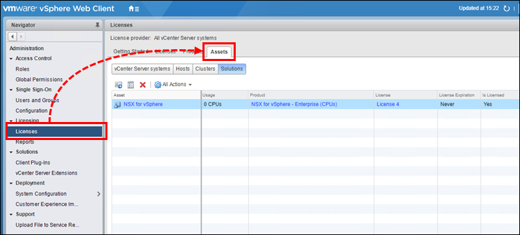 Going to Licenses → Assets in vSphere Web Client