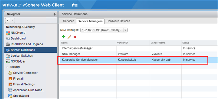 Checking the registered Kaspersky Service Manager service