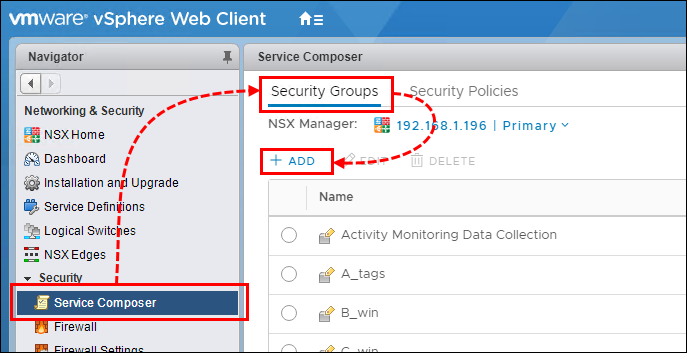 Creating NSX security groups