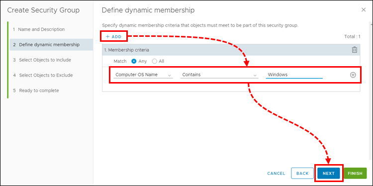 Configuring dynamic adding of virtual machines to an NSX group