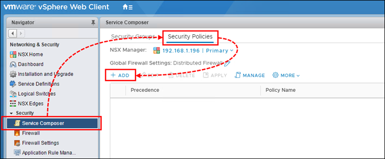 Creating an NSX Security Policy