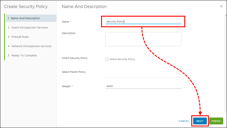 Naming an NSX Security Policy