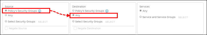 Configuring checking of outbound traffic in an NSX Security Policy