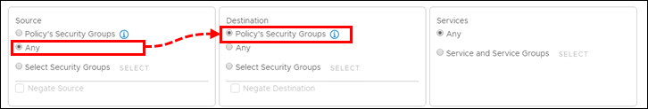 Configuring checking of incoming traffic in an NSX Security Policy