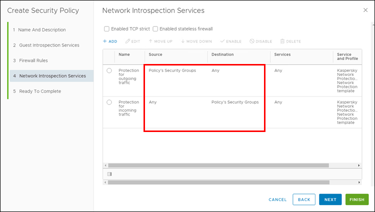 Checking the configured Kaspersky Network Protection service in the NSX Security Policy