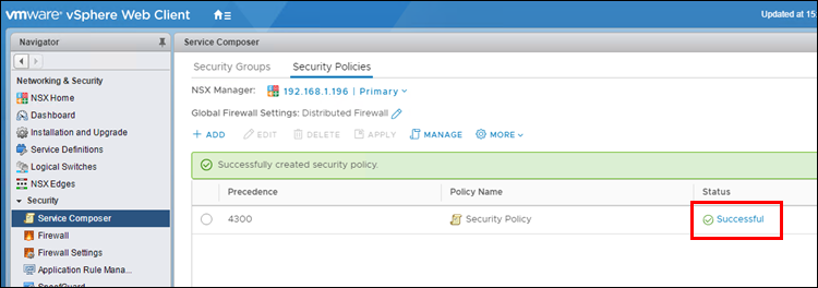 Checking the NSX Security Policy