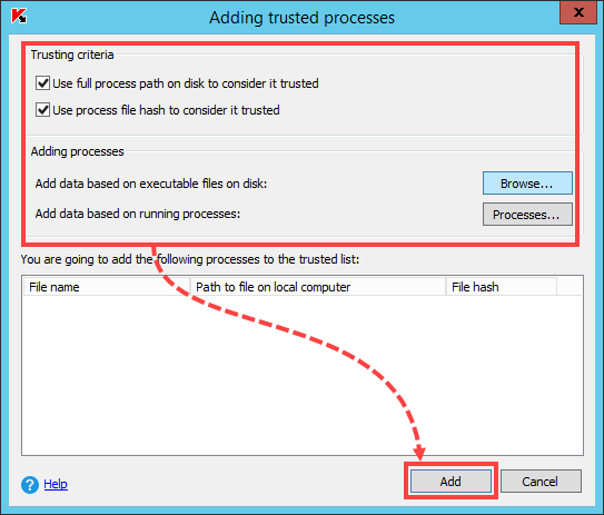 Excluding a process from scan in Kaspersky Security 10.x for Windows Server