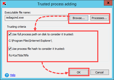 Excluding a process from scan based on its properties in Kaspersky Security 10.x for Windows Server