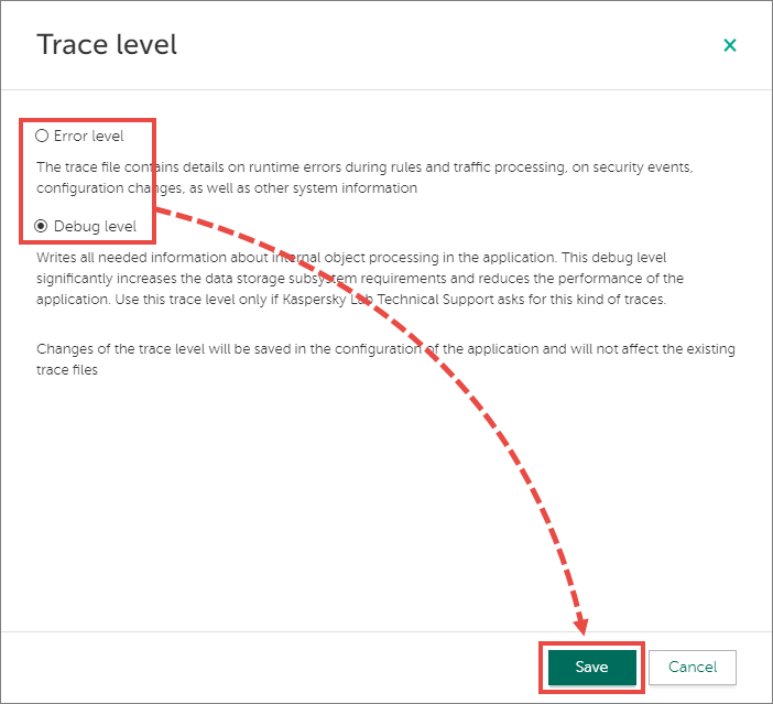 Changing the trace level in Kaspersky Web Traffic Security 6.0