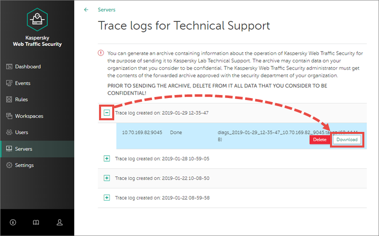Saving the trace log in Kaspersky Web Traffic Security 6.0.